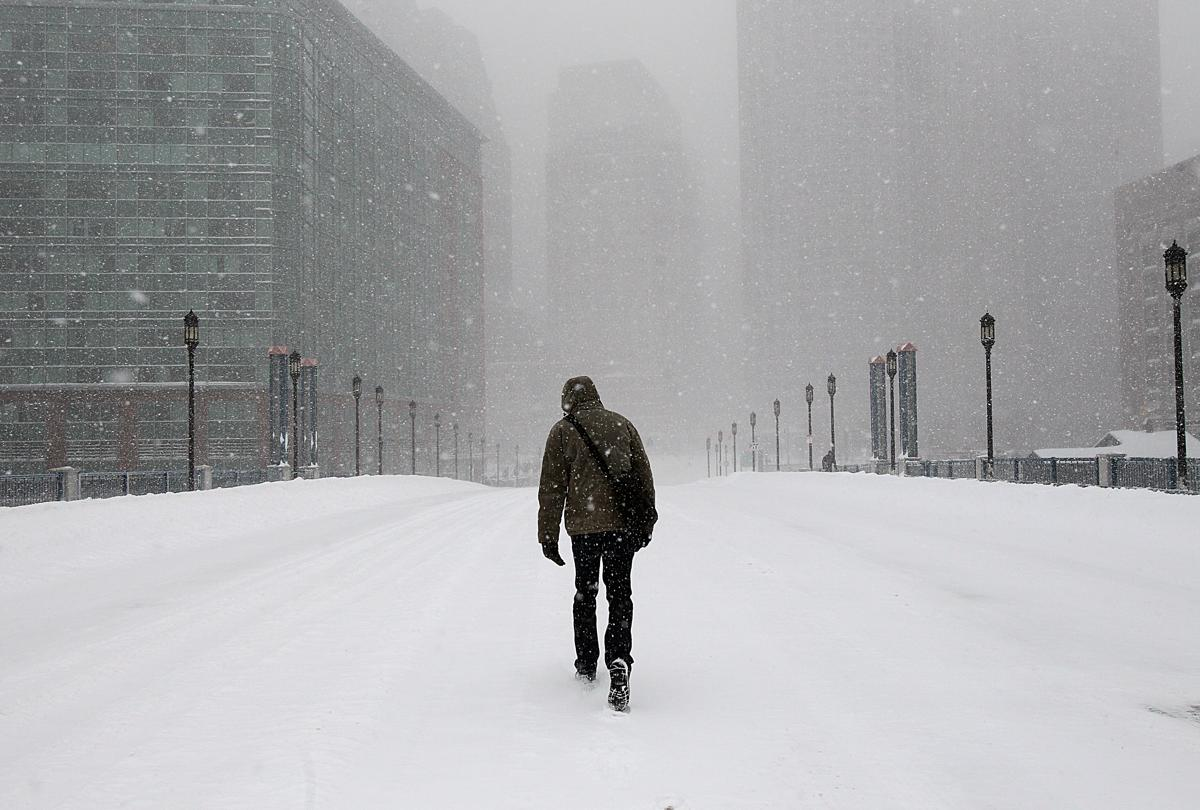 Tempestade de neve. Foto: (Suzanne Kreiter / The Boston Globe)